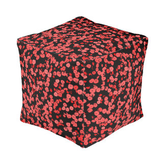 Red and pink dots pattern, sequins on black canvas pouf