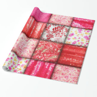 Red and Pink Faux Patchwork Quilting