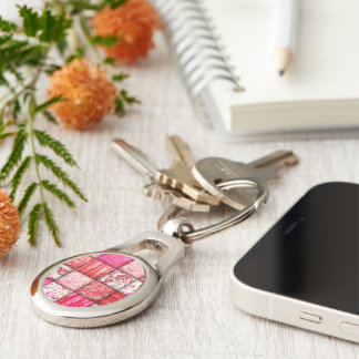 Red and Pink Faux Patchwork Quilting Pattern Silver-Colored Oval Keychain