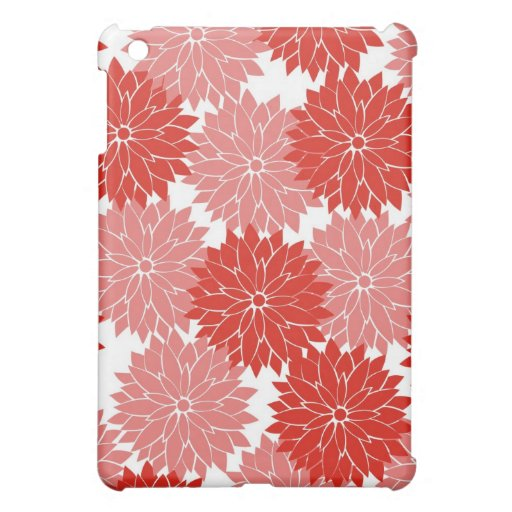 Red and Pink Flower Blossoms Floral Print Cover For The iPad Mini