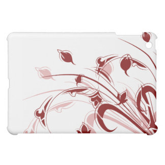 Red and Pink Flowers on White iPad Mini Cover