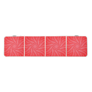 Red and Pink Flowing Spiral  Print Beer Pong Table