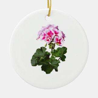 Red And Pink Geranium Ceramic Ornament