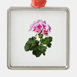 Red And Pink Geranium Metal Ornament