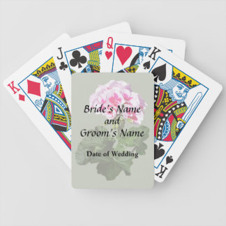 Red And Pink Geranium Wedding Supplies Bicycle Playing Cards
