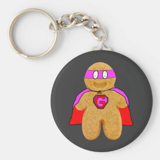 red and pink gingerbread man super hero key-chain basic round button keychain