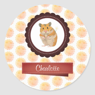 Red and Pink Girls Hamster Classic Round Sticker