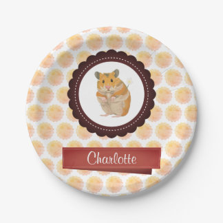 Red and Pink Girls Hamster Paper Plate