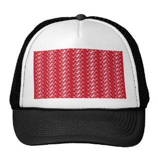 Red and Pink Girly Cute Abstract Floral Design Mesh Hat