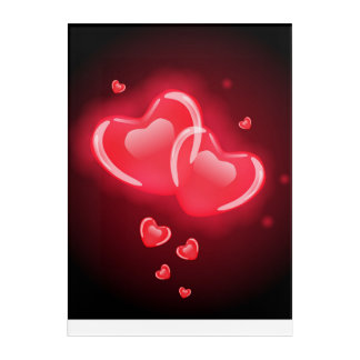 "Red and Pink Heart Acrylic Wall Art, 10"" x 14"" Acrylic Wall Art"