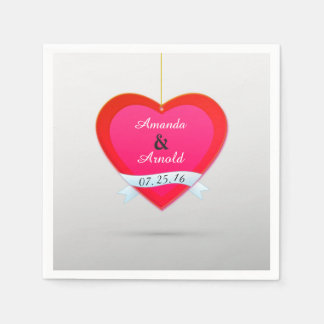 Red And Pink Heart Wedding Cocktail Paper Napkins