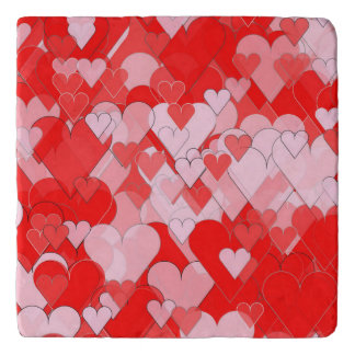 Red and Pink Hearts Trivet