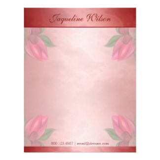 Red and Pink Marbled Floral Personalized Letterhead