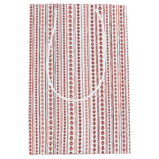 Red and Pink Paw Print Stripe Gift Bag