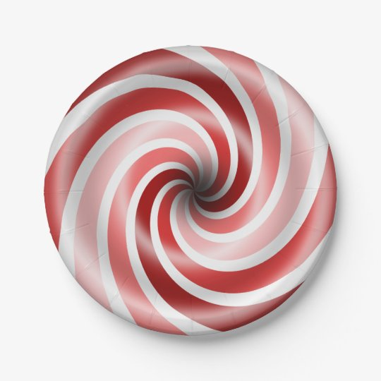 Red And Pink Peppermint Swirls 7 Inch Paper Plate
