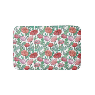 Red and pink Poppy flowers seamless pattern Bath Mat