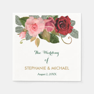 Red and Pink Rose Border Wedding Paper Napkins
