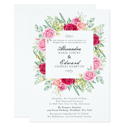 Red And Pink Wedding Invitations: Red And Pink Rose, Garden Wedding Invitation