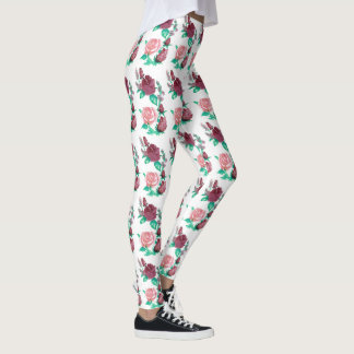 Red and Pink Rose w/Green Leaves Water Colour Leggings