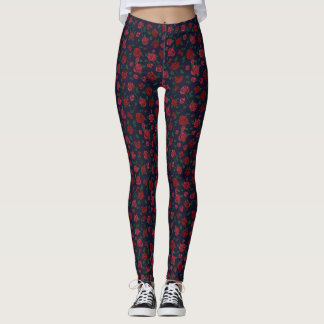 Red and Pink Roses Leggings