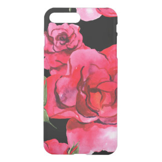 Red and Pink Soft Watercolor Roses on Black iPhone 8 Plus/7 Plus Case