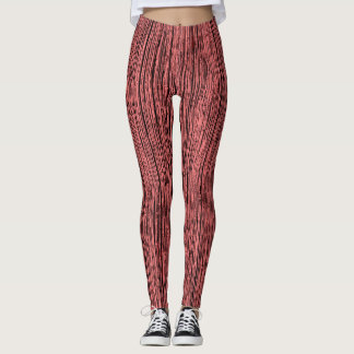 Red and pink stripes, lines pattern vertical leggings