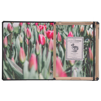 Red and Pink Tulips, Flower Field in Spring Case For iPad
