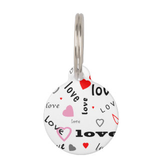 red and pink typography text design love hearts pet name tags
