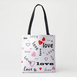 red and pink typography text design love hearts tote bag