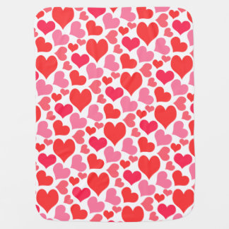 Red and Pink Valentine's Day Hearts for Love Baby Blanket
