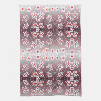 Red and Plum Flowered Towel