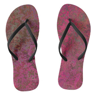 Red and purple abstract flip flops