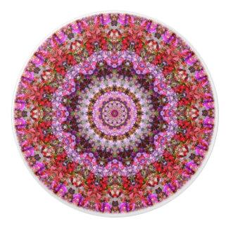 Red and Purple Petunias Boho Mandala Ceramic Knob