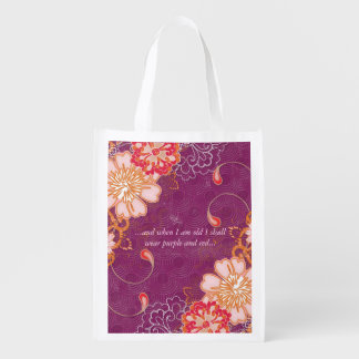 Red and Purple Reusable Grocery Bag