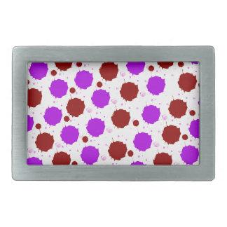 Red and Purple Splash Dots Rectangular Belt Buckles