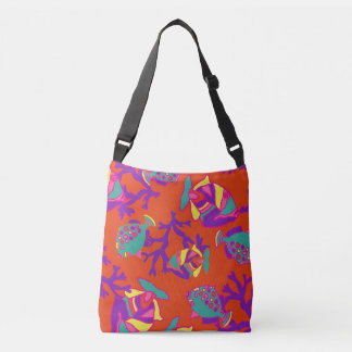Red and Purple Tropical Fish Beach Bag