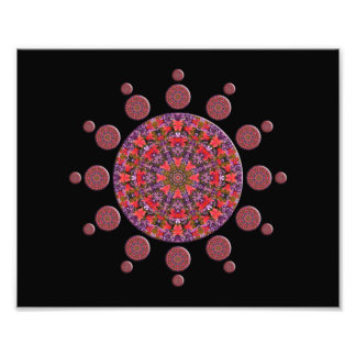 Red and Purple Tulip Mandala Fractal Photographic Print