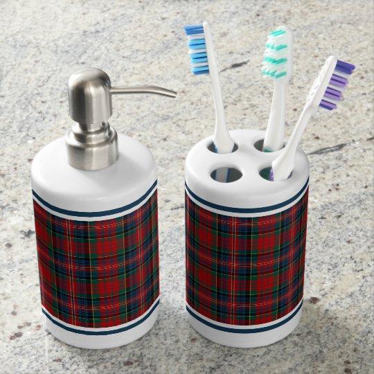 Red and Royal Blue Plaid Clan MacPherson Tartan Soap Dispensers