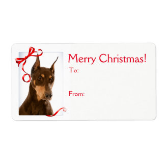 Red and Rust Doberman Christmas Gift Stickers