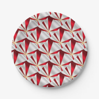Red And Silver Background Paper Plate