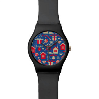 Red and Silver Christmas Candies and Gifts Pattern Watch
