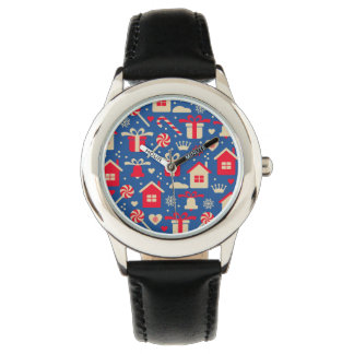 Red and Silver Christmas Candies and Gifts Pattern Wristwatch