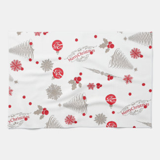 """Red and Silver Christmas Kitchen Towel 16"""" x 24"""""""