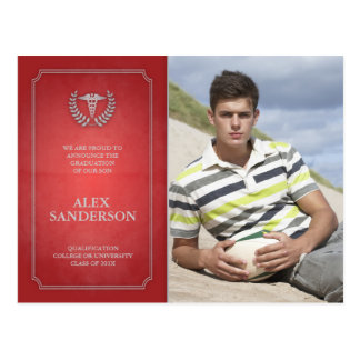 Red and Silver Medical School Graduation Photocard Postcard
