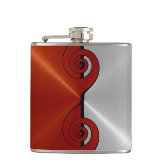 Red and Silver Metallic Steel Metal Hip Flask