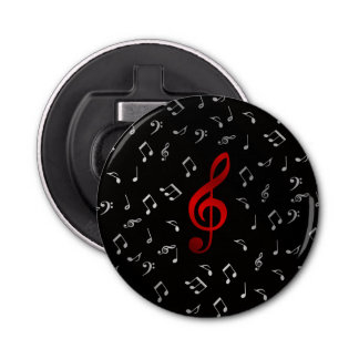 red and silver music notes button bottle opener