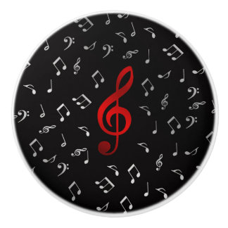 red and silver music notes ceramic knob
