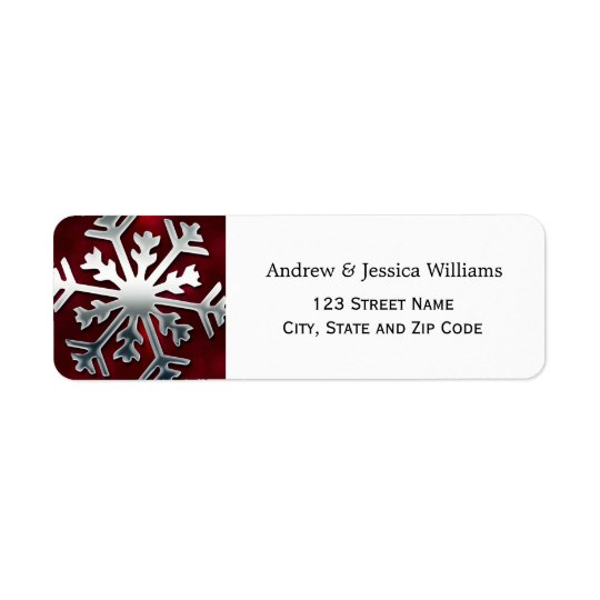 Red and Silver Snowflake Address Labels
