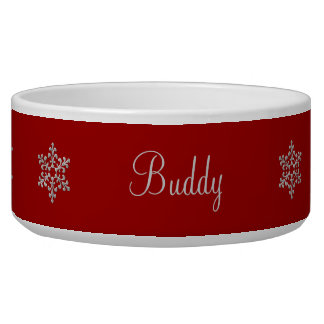 Red and Silver Snowflakes Pet Bowl