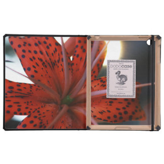 Red and Spotted Black Flower iPad Folio Case